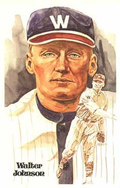 """Walter Johnson"" - Hall of Fame Art Cards, Series 1, Card 2 by Dick Perez"