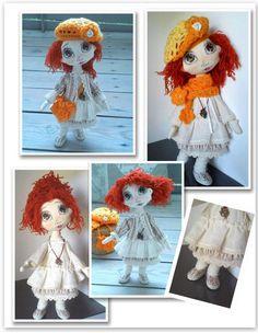 lalka ręcznie szyta ,ruda