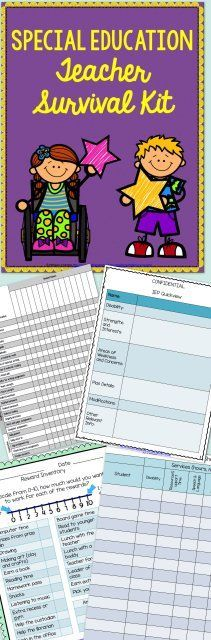 Special education teacher survival kit - forms, worksheets, data, and so mu Special Education Activities, Special Education Classroom, Education Quotes For Teachers, Elementary Education, 6th Grade Special Education, Classroom Community, Survival Kit For Teachers, Teacher Survival, Survival Skills