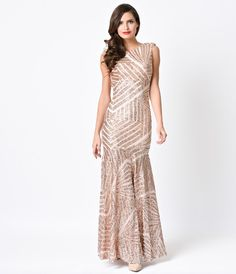df7b638f13 Presenting a glitzy, body hugging inspired rose gold evening gown, beaded  in elaborate geometric sequined deco detail. Crafted in a soft knit lined  beaded ...