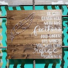 Psalm 91 4 Sign, String Art Feather, He Will Cover You With His Feathers, Custom Made Wood Sign, Hand Painted Scripture, Christian Decor