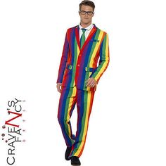 Mens #stand out suit #rainbow stag do party #funny fancy dress costume outfit new, View more on the LINK: http://www.zeppy.io/product/gb/2/172175729162/