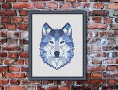 Geometric Wolf, Counted Cross stitch, Pattern PDF, Cross Stitch Chart , Cute Cross Stitch, Cross stitch pattern, pixel art, 0236