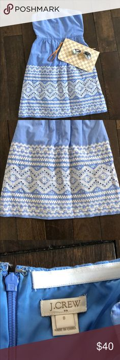 """J Crew • Blue strapless dress & white embroidery J Crew • Light Blue strapless dress with white embroidery.  Worn twice, excellent condition.  Length: hits right above knees (I'm 5'5"""").  Perfect for spring summer and/or paired with a light jacket.  Size 0  ✨Reasonable offers welcomed ✨ J. Crew Dresses Mini"""