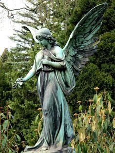 Verdigris beauty by [ henning ] Cemetery Angels, Cemetery Statues, Cemetery Art, Statue Art, Sculpture Art, Sculptures, Arte Robot, Old Cemeteries, Graveyards