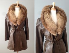 Vintage 70s Trench Coat // Brown Leather Coat with Fur Collar // Medium #vintage #vintageclothing #leathertrenchcoat #vintagefur
