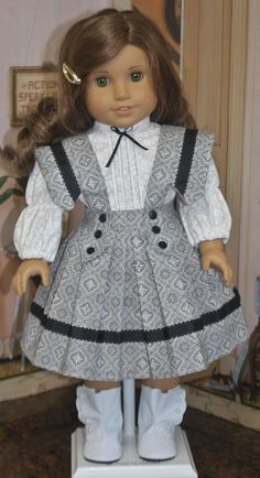 American Girl Style Edwardian Jumper and Blouse in Gray with Black Ribbon All American Doll, American Doll Clothes, Girl Doll Clothes, American Girl, Frocks For Girls, Girls Dresses, Doll Dresses, Toddler Fashion, Girl Fashion