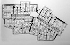 Angelo Mangiarotti - Via Quadronno, Milano, Architecture Drawings, Architecture Plan, Residential Architecture, Modern House Plans, House Floor Plans, Floor Plan Layout, Holland Park, Plan Drawing, Building Plans