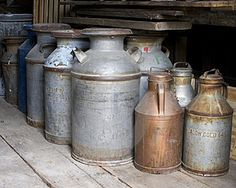 Old milk cans along with lots of antique dairy equipment and memorabelia will go into Larry's Dairy Museum we plan to house inside our Feed Store at Red Oak II...