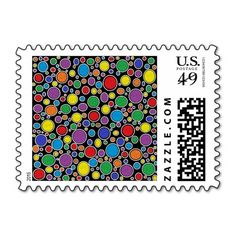Colored Bubbles Black Postage Stamps