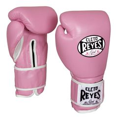 Pink leather 10oz sparring gloves.