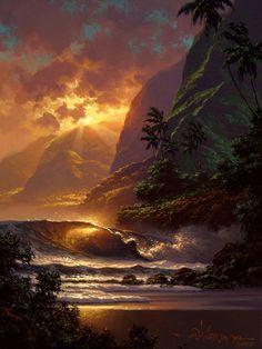 """Spill of the Evening Light"" by Hawaii seascape artist, Roy Tabora. Beautiful Sunset, Beautiful World, Beautiful Places, Beautiful Pictures, Beautiful Gorgeous, Snow Photography, Landscape Photography, Amazing Photography, Fotografia Macro"
