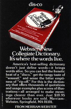 nice Vintage Ad #1,324: The Dictionary Goes to the Disco