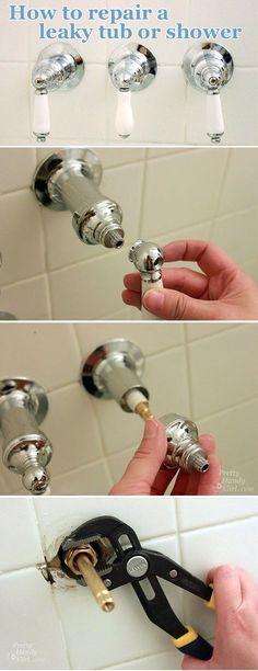 How to Repair a Leaky Shower or Tub Faucet - Pretty Handy Girl Leaky Faucet, Tub Faucet, Faucets, Bathtub, Watch Diy, Faucet Repair, Shower Fixtures, Home Fix, Diy Home Repair