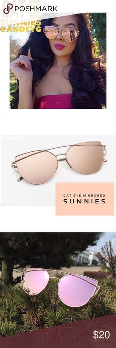 Rose gold mirrored Cat Eye sunnies NIB ⚜Rose gold sunnies⚜ Metal frame sunglasses Sturdy & comfortable  & HELLLAAAAAA CUUUUUTE!  Will post pick of me wearing mine soon! Brand new  ⚜Alloy frame, resin lens ⚜non-polarized ⚜Material:Alloy+Resin ⚜Nasal spacing:1.8cm/0.7inch ⚜Mirror legs length:14cm/5.5inch  ~~*~~⚜No Trades⚜~~*~~~ Accessories Sunglasses
