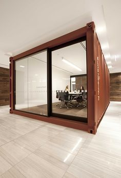 Melbourne Office incorporates decommissioned shipping containers into its meeting rooms and reception Container Buildings, Container Architecture, Interior Architecture, Interior Design, Shipping Container Office, Shipping Containers, Shipping Container Home Designs, Corporate Interiors, Office Interiors