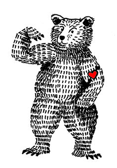 bear pen illustrattion heart strong