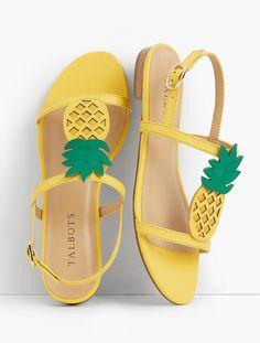 Keri Pineapple T-Strap Sandals