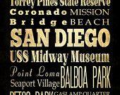 San Diego, California, Typography Art  Canvas / Bus  / Transit / Subway Roll Art 20X24 - San Diego's Attractions Wall Art Decoration-LHA-19