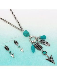 www.ewam.com Turquoise Stone and Burnished Silvertone Arrow Pendant Necklace and Earring Set