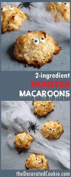 how to make 2-ingredient macaroon cookies -- monsters for Halloween