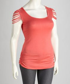 Take a look at this Coral Plus-Size Scoop Neck Top by Yummy on #zulily today!