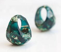 Teal Resin Ring Gold Flakes Dark Emerald Teal Faceted by daimblond, €30.00