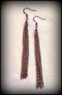 Bronze Long Chain Tassel Earrings