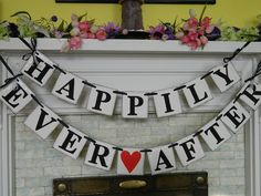 HAPPILY EVER AFTER Wedding Reception Decoration Wedding Garland Wedding Banner Photo Prop Great for the Back of Your Car. $33.00, via Etsy.