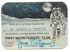 """Pan Am promoted its """"First Moon Flights"""" Club on radio and TV after the Apollo 8 mission in saying that """"fares are not fully resolved, and may be out of this world. Pan Am, Flight Reservation, Aviation Forum, Am One, Space Tourism, Flight Club, Space Race, Retro Futuristic, Space Exploration"""