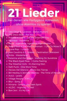 21 Lieder bei denen alle Partygäste ausrasten, ohne #Atemlos spielen zu müssen #DJPlayliste #TopSongs #Partymusik