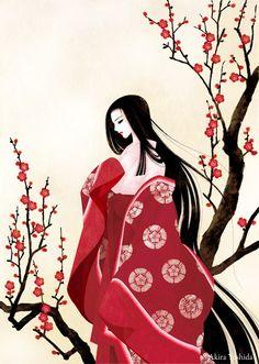 Wakana by akira-yoshida on DeviantArt Japanese Drawings, Japanese Artwork, Chinese Painting, Chinese Art, Geisha Art, Geisha Anime, Asian Artwork, Cherry Blossom Art, Aesthetic Japan