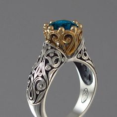 """""""The Enchanted Princess"""" ring with London Blue Topaz in silver and gold. Jewelry Rings, Jewelery, Jewelry Accessories, Fine Jewelry, Unique Jewelry, Gold Jewelry, Pandora Jewelry, Topas, London Blue Topaz"""