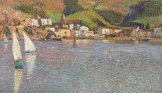 Henri Martin - Hamlet facing the port of Collioure, oil on canvas