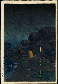 Kawase Hasui - Soirée d'averse à Teradomari, 27 Août 1921