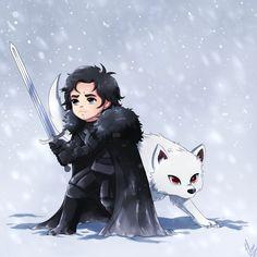 http://fifthknown.deviantart.com/art/Jon-Snow-and-Ghost-526187843