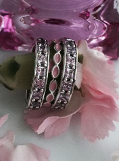Make a statement stack with pink CZ and enamel details Charms Pandora, Pandora Rings, Pandora Bracelets, Pandora Jewelry, Pandora Collection, Pink Stars, Couture, Wedding Accessories, Jewelery