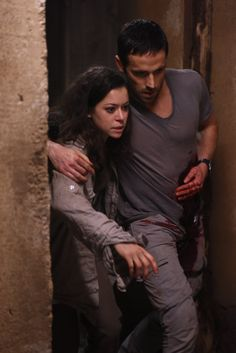 Sarah with Dylan Bruce as Paul in Orphan Black