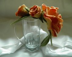Felt flower fascinator, felted rose headband, felted fascinator, orange felted wool rose, garden fairy, woodland wedding bridal headband.