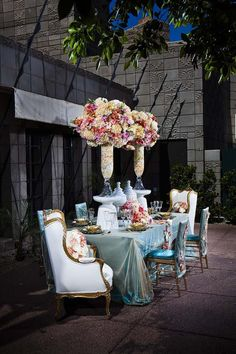 Beautiful Wedding Reception and Ceremony decor ideas / bridal party table and chairs / table scape & floral centerpiece