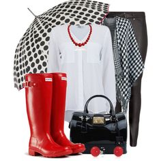 Dancing in the rain by yonnama on Polyvore featuring ONLY, H&M, Hunter, Bling Jewelry, ShedRain, PolkaDots, rain, umbrella, houndstooth and poncho
