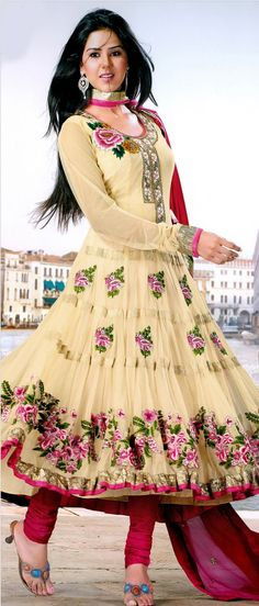 #Cream Net #Churidar #Kameez @ $101.92 | Shop @ http://www.utsavfashion.com/store/sarees-large.aspx?icode=ksx669
