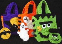 """Watch Maggie review these Halloween Bags! Design By: Donna Collinsworth Skill Level: Easy Size: Halloween Bag: Finished size approx. 9"""" tall by about 8"""" wide. Money Pouch: Finished size between 4½"""" an"""