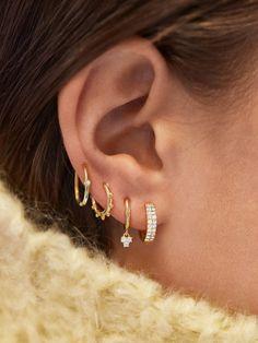 Another picture of Liza Gold Vermeil Huggie Hoop Earring Set of 5 Ear Jewelry, Cute Jewelry, Jewelery, Jewelry Accessories, Bullet Jewelry, Jewelry Necklaces, Pretty Ear Piercings, Ear Peircings, Unique Piercings