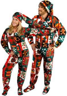 Christmas Sweater Fleece Footed Pajamas with Long Night Cap - *Limited Sizes Ugly Christmas Fleece Drop Seat Footed Pajamas with Long Night CapUgly Christmas Fleece Drop Seat Footed Pajamas with Long Night Cap Christmas Pajama Party, Christmas Onesie, Tacky Christmas, Christmas Couple, Christmas Outfits, Christmas Clothes, Christmas Time, Christmas Ideas, Merry Christmas