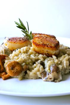 Tender and Golden Chanterelle Mushroom & Winter Leek Oozy Risotto