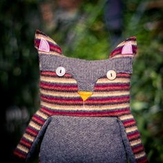 Upcycled wool sweater cat in harvest colored stripes!