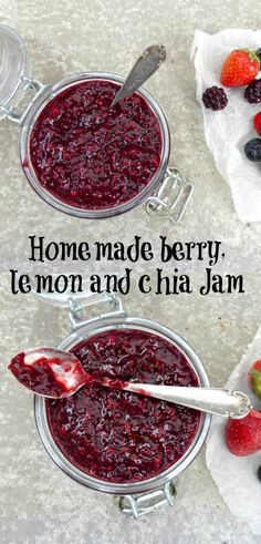 Homemade jam is a lot simpler than you might think. It is also a lot healthier. This berry, lemon and chia seed jam has no refined sugar and packed with berries and chia.