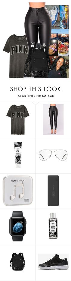 """"" by kennisha84 ❤ liked on Polyvore featuring Victoria's Secret, Ray-Ban, Happy Plugs, Tzumi, M.A.C and NIKE"