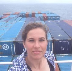 Rebecca Moss on the Hanjin container ship. Courtesy of Rebecca Moss, via…